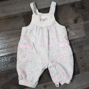 Floral Terry Cloth Overalls